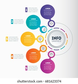 Business presentation or infographic with 5 options. Vector dynamic infographics of technology or education process. Web Template of a chart, infographic, mindmap or diagram. Part of the report.