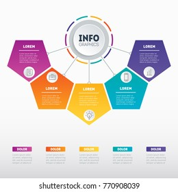 Business presentation or infographic with 5 options. Vector infographics with 5 parts of technology or education process. Web Template of a chart, info graphic, mindmap or diagram.