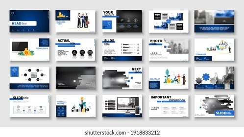Business presentation, infographic design template, blue black elements, white background set. New technology. Team of people creates a business, teamwork. Financial work. Use of flyers, SEO, info