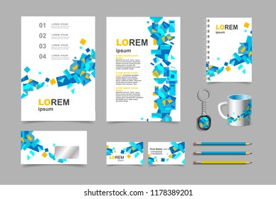 Business presentation infographic elements template set, annual report corporate vertical brochure design. Pencil, mug, keychain, flyer.