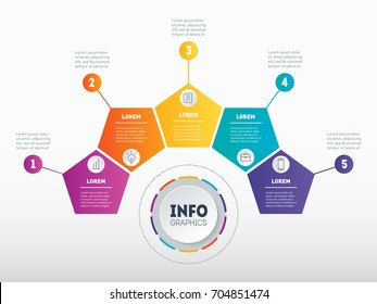 Business presentation, infographic or mind map with 5 options. Vector dynamic infographics of technology or education process. Web Template of a chart, mindmap or diagram. Part of the report