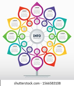 Business presentation, infographics with 12 steps. Template of development tree. Diagram looks like Flower. Technology or education process with options. Annual report is segmented into twelve months.