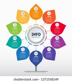 Business presentation or infographics concept with 10 options. Info chart or diagram. Vector info graphic of technology or education process with 10 steps.