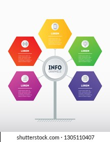 Business presentation or infographics concept with 5 options. Web Template of development  tree, info chart or diagram. Vector info graphic of technology or education process with 5 steps.