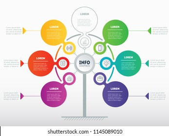 Business presentation or infographics concept with 6 or 7 options. Web Template of service tree, info chart or diagram. Vector info graphic of technology or education process with 6 or 7 steps.