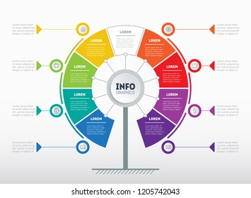 Business presentation or infographics concept with 8 or 9 options. Web Template of tree, info chart or diagram. Vector info graphic of technology or education process with 8 or 9 steps.
