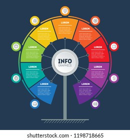 Business presentation or infographics concept with 9 points. Web Template of service tree, info chart or diagram. Vector info graphic of technology or education process with 9 steps.