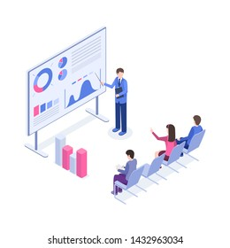 Business presentation isometric color illustration. Market analyst, boss, office workers 3d cartoon characters. Corporate training, sales pitch, employer explaining charts and diagrams on board