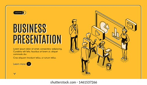 Business presentation isometric landing page, manager woman presenting marketing report, project statistic in diagrams on infographics screen to director or clients in office 3d vector line art banner