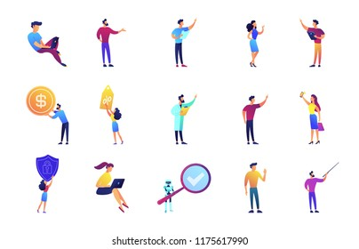 Business presentation and lecture set. Businessman at conference, giving seminar and lecture, pointing and showing something, shopper, robot. Vector illustrations set isolated on white background.
