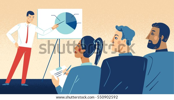 Business presentation. Man from one company giving a bright sales pitch or feedback presentation to representatives from another company who are watching and taking notes.