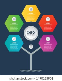 Business presentation or mindmap concept with 5 options and icons. Template of development tree or diagram. Info graphic of technology process with five steps. Infographics consisting of hexagons.