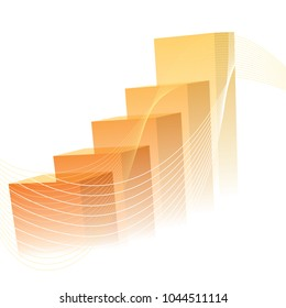 Business presentation, the orange graph shows the increase in value.