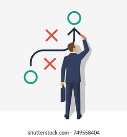 Business presentation planning strategy. Business tactic. Businessman showing scheme. Pointing and explains chart. Vector illustration of flat design style. Plan to achieve goal.
