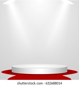 Business presentation podium of three steps with the track. Bright spotlights. 3d rendering, vector graphics.