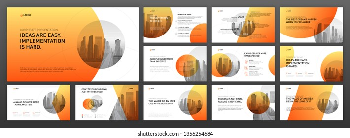 Business presentation powerpoint templates set. Use for presentation background, brochure design, website slider, landing page, annual report, company profile.