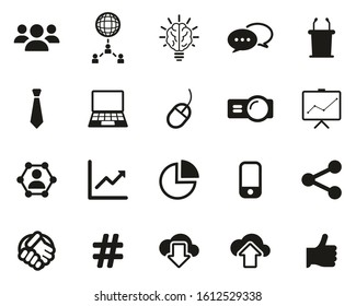 Business Presentation Or Sales Pitch Icons Black & White Set Big