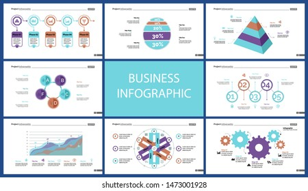 Business presentation slide template design set can be used for workflow layout, annual report, web design. Management concept. Line chart, bar graph, option chart, process chart, flowchart