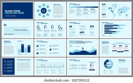 Business presentation slides templates from infographic elements. Use in presentation, corporate report, marketing, advertising, annual report, banner.