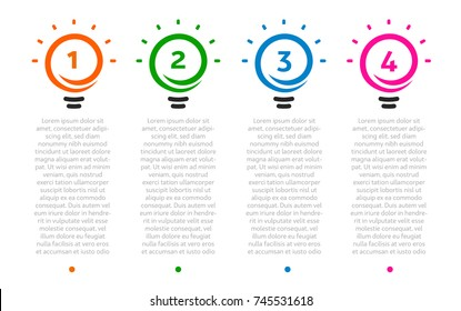 Business presentation, table with 4 lightbulbs timeline. Options number, ideas logo, steps icons. Vector Infographic element.