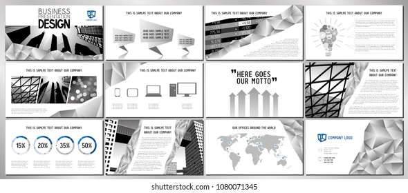 Business presentation template/ design - hd format - 1920x1080 px - fully adjustable vector design - replace text and photographs to create professional, good-looking business presentation.