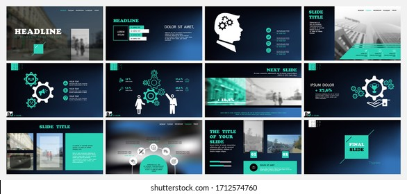 Business presentation template. Design, turquoise elements for presentation on blue background. Vector infographic.People in the city. Use in flyers and leaflets, marketing, advertising, annual report