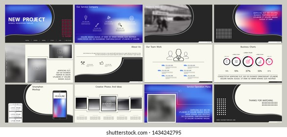 Business presentation template. Elements of infographic. Slide on a white background. Blue gradient design. Use as a postcard, an annual report, marketing services to develop an advertising banner