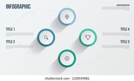 Business presentation template. Infographic element with 4 options, points, steps, processes, or parts. Data visualization template.