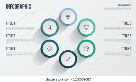 Business presentation template. Infographic element with 6 options, points, steps, processes, or parts. Data visualization template.