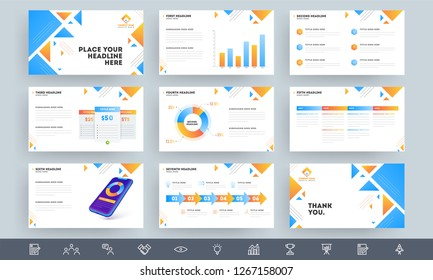 Business presentation template layout with infographic elements and statistical chart.
