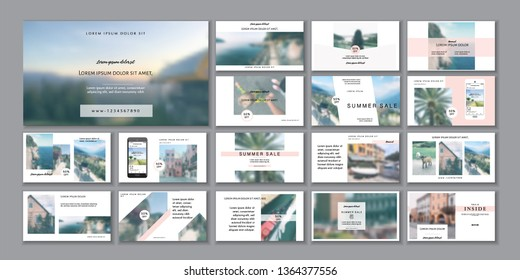 Business presentation template. Social media pack. Set of  modern blog posts or Editable simple info banner, trendy book cover idea. For app, web digital display style. handpicked beauty shop. ppt