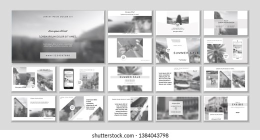 Business presentation template. Social media pack. Set of  easy blog posts or Editable simple info banner, trendy book cover idea. For app, web digital display style. handpicked beauty shop. ppt