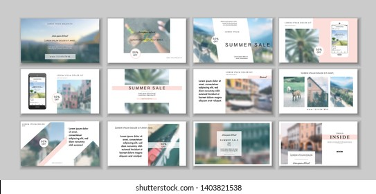 Business presentation template. Social media pack. Set of modern blog posts or Editable simple info banner, trendy book cover idea. For app, web digital display style. Summer. beauty shop. ppt