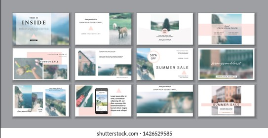 Business presentation template. Social media pack. Set of modern blog posts or Editable simple info banner, trendy book cover idea. For app, web mail digital display style. Minimal. beauty shop. ppt