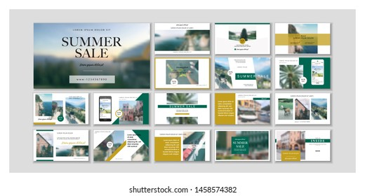 Business presentation template. Social media pack. Set of modern blog posts or Editable simple info banner, trendy book cover idea. For app, web digital display style. Bright flyer. ppt