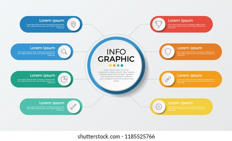business presentation template vector. infographic element with 8 options, parts, processes, or steps.
