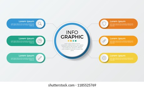 business presentation template vector. infographic element with 6 options, parts, processes, or steps.