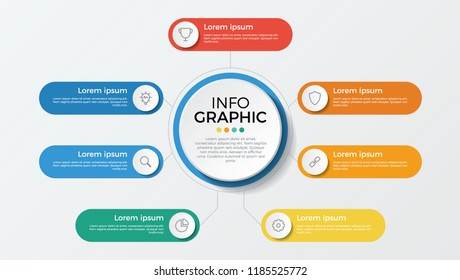 business presentation template vector. infographic element with 7 options, parts, processes, or steps.