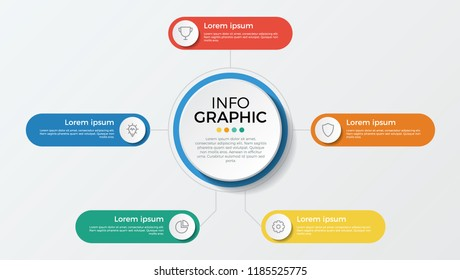 business presentation template vector. infographic element with 5 options, parts, processes, or steps.