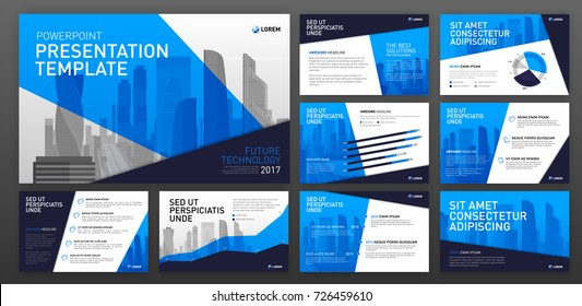 Business presentation templates with infographic elements. Use for ppt layout, presentation background, brochure design, web slideshow, corporate report.