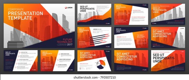 Business presentation templates with infographic elements. Use for keynote template, ppt layout, presentation background, brochure design, web slideshow, corporate report, annual report.