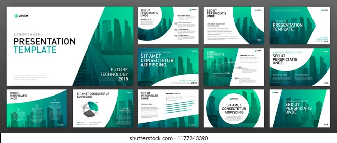 Business presentation templates set. Use for keynote presentation background, powerpoint template design, website slider, brochure cover design, landing page, annual report brochure, company profile.