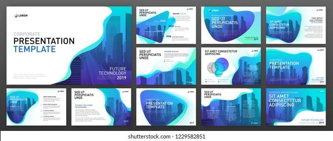 Business presentation templates set. Use for presentation background, brochure design, website slider, landing page, annual report.