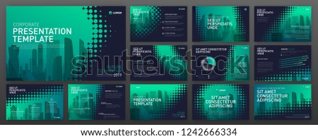business presentation templates set use powerpoint stock vector