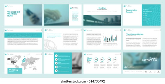 Business presentation templates. Set of vector infographic elements for presentation slides, annual report, business marketing, brochure, flyers, web design and banner, company presentation.