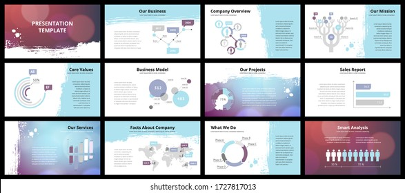 Business presentation templates. Vector infographic elements for company presentation slides, corporate annual report, marketing flyers, leaflets and brochures, banners and web design. - Shutterstock ID 1727817013