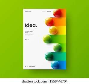Business presentation vector A4 vertical orientation front page mock up. Modern corporate report cover 3D colorful balls geometric illustration design layout. Company identity brochure template.