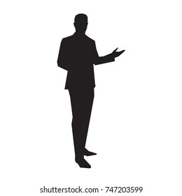 Business presenter in suit, vector silhouette
