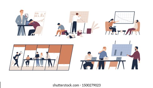 Business problem flat vector illustrations set. Profit drop, rating decrease, company bankruptcy concept. Financial trouble, bad leadership, burnout. Stressed office workers and unmotivated managers.