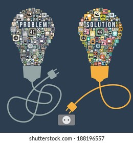 Business problem and solution with light bulb design from icons